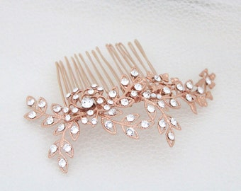 Rose Gold hair comb, Rose Gold Wedding headpiece, Bridal hair comb, Crystal hair comb, Leaf hair comb, Leaf headpiece, Swarovski hair comb