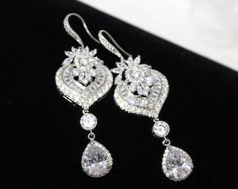 Crystal Bridal Earrings, Bridal jewelry, Chandelier Wedding earrings, Art Deco Wedding earrings, Swarovski earrings, Dangle earrings, EMMA