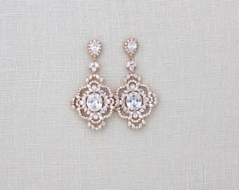 Rose Gold Wedding earrings, Rose Gold Chandelier earrings, Wedding jewelry, Crystal earrings, Statement earrings, Bridesmaid gift, MADISON