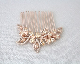 Rose Gold Bridal hair comb, Champagne Crystal hair comb, Rose Gold headpiece, Champagne crystal headpiece, Leaf hair piece, Champagne stone