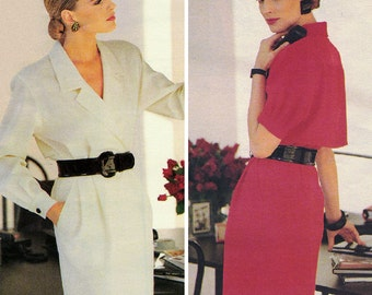 Eighties Anne Klein II Wrap Dress! Vintage ©1988 Vogue Career Anne Klein II Sewing Pattern 2057, Misses' Dress, Sizes 12-14-16, Uncut w/ FFs