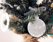 White silver hand painted christmas tree ornament