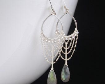 Labradorite earrings, silver chandelier earrings, labradorite and pearl earrings, wire wrapped jewelry handmade, long earrings
