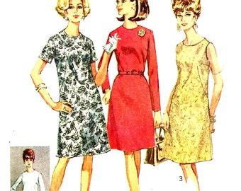 A Line Dress Size 12.5 High Round Jewel Neckline Simplicity 7509 Sewing Pattern Bust  Size 35 Vintage 60s