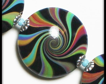 Tie Dye... Handmade Polymer Clay Beads Bead Set Lentils Swirl Spiral Rainbow Pastel Multi-Colored White Silver Bead Caps Jewelry Supplies