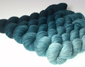 Hand-dyed Merino Sport Gradient Set - approx 360 yds - PHTHALO