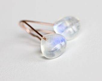 Rainbow Moonstone Drops - Solid 14k Rose Gold Earrings - Flashy Gemstone Earrings - Simple Minimalist Earrings