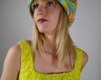 Psychedelic Hat, Spring Hat, Summer Hat,  Bucket Hat, Tea Party Hat, 60s Hat, Kitsch Hat, Wild Party Hat,