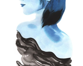 Unravel - 11x14in Wall Art Print - indigo and black sumi ink painting