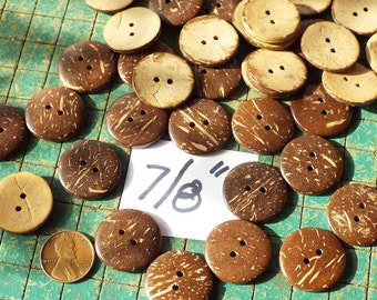 30 Coconut Buttons, 7/8 inch, hawaiian shirt, sewing supply, crafts, scrapbook