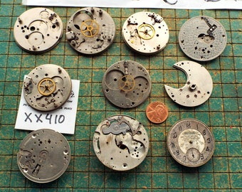 10 old watch pieces and parts, pocket watch frames, steampunk, make jewelry, destash, upcycle, recycle, WYSIWYG, XX410