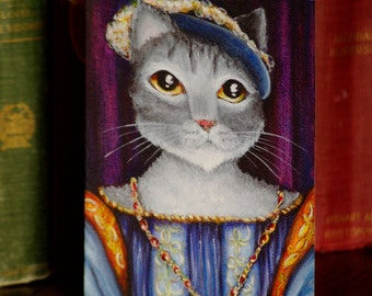 Grey Cat Card, Renaissance Tudor King of France 5x7 Greeting Card