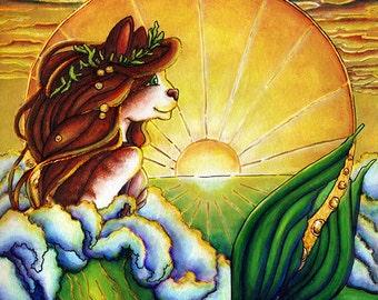 Mermaid Fantasy Cat Art Nautical Ocean Sunset 5x7 Fine Art Print