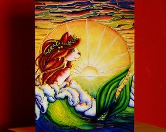 Mermaid Cat Greeting Card, Ocean Sunset Art Nouveau Nautical Fantasy Cat Art Card