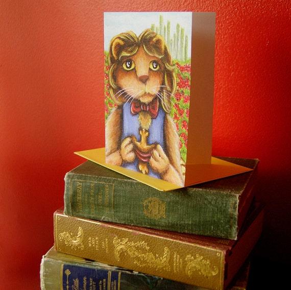 Cowardly Lion, Wizard of Oz Art, 5x7 Blank Greeting Card