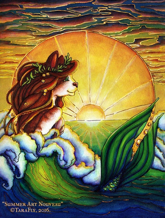 Mermaid Fantasy Cat Art Nautical Ocean Sunset 5x7 Fine Art Print