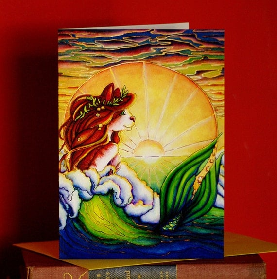 Mermaid Cat Greeting Card, Ocean Sunset Art Nouveau Nautical Fantasy Cat Art Card