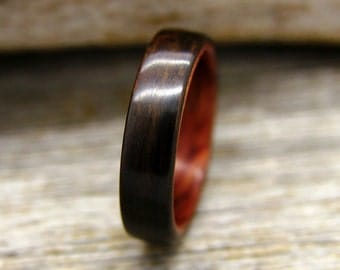 Bentwood Ring - Ziricote Wooden Ring Lined With Bubinga- Handcrafted Wood Wedding Ring - Custom Made