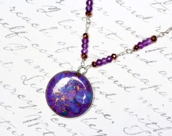 Purple Turquoise Necklace, Amethyst, Pyrite, Sterling Silver - Roma by CirceHouse on Etsy