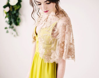 Golden beaded capelet, gold capelet, bridal cover up, bridal caplet, gold capelet, sheer capelet - other colors available