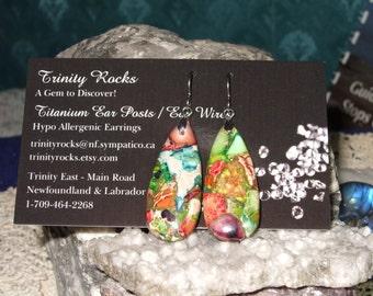 Rainbow Variscite (D) Teardrop Dangle Earrings Earings Titanium Ear Wires Made in Newfoundland