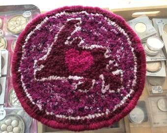 Love Newfoundland Teapot Mug Rug Coaster Handhooked Wool Fabric Mat Burgundy Themed