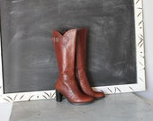 vintage KENTUCKY BOURBON stitched leather boots size 6.5 shoes