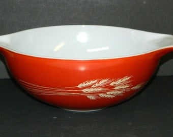 Pyrex AUTUMN HARVEST PYREX Bowl Vintage Wheat Design 4 liter Orange -Red-Brown-Rust Outside/White Inside Kitchenware. CrabbyCats Crabby Cats