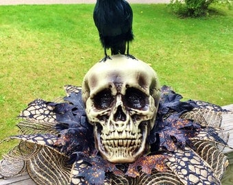Skull Raven Crow - Fall Halloween Centerpiece
