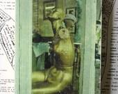 Gold, Mannequin, Hat, Store Front, Window, Burlington, New Jersey, 4 x 6, Original, Mixed Media, Miniature, Tiny Art