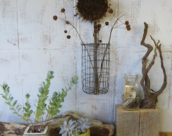 Hand Woven Wire Wall Hanging Basket