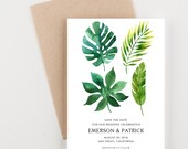Watercolor Palm Fronds Save The Date, Tropical Palms, Wedding Invitation