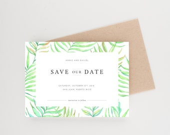 Tropical Palm Fronds Save The Date, Water Color Palms, Wedding Invitation