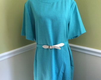 Blue Henry Lee Dress, Short Sleeve Shift Dress