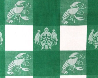 Simtex Tablecloth Green White Lobster Fishermen 4 Napkins