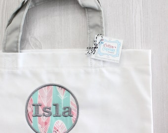 Personalized Watercolor Feather Tote Bag - White and Grey with Fabric Applique Design