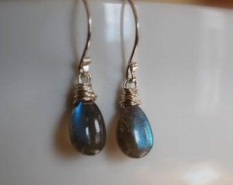 labradorite earrings.  sterling silver. blue flash. AAA. favorite earrings. thewatersedge.