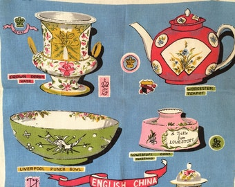 Vintage Tea Towel English China Hallmarks Vase Bowl Platter Teacup