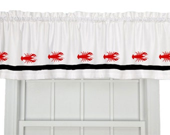 Lobster Crustacean Window Valance / Treatment - Your Choice of Colors