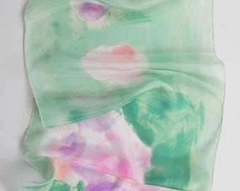 Apple green silk scarf/ Hand painted scarf floral/ Pink green scarf painted/ Holidays gift for women/ Abstract painting on silk by Dimo