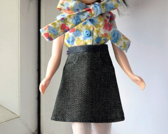 Beautiful A line denim skirt with pockets for Blythe doll