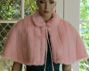 1950's Vintage Reproduction CAPELET.  PINK Faux Fur