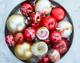 19 Vintage Mercury Glass Christmas Ornaments / Mixed Lot / Red Silver Gold / Shiny Brite / Indents