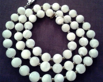 Necklace - Milk Glass Bead Necklace