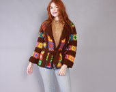 Vintage 70s Cardigan SWEATER / 1970s Colorful Granny Square Sweater Knit Crochet Belted Cardi