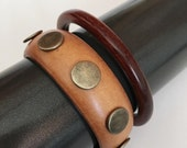Vintage Pair of Brown Wooden Bracelets Bangle Studs