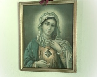 Vintage Virgin Mary Sacred Heart Lithograph Framed Religious Art