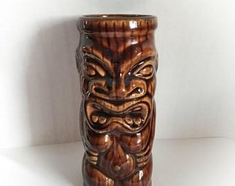 Vintage Brown Ceramic Tiki Mug