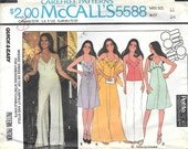 McCalls 5588 1970s Marlos Corner Halter Dress Top and Jumpsuit with Ruffle Vintage Sewing Pattern Size 12 Bust 34 Shawl