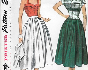 Simplicity 3193 1950s Softly Pleated Skirt Jacket and Camisole Vintage Sewing Pattern Size 14 Bust 32